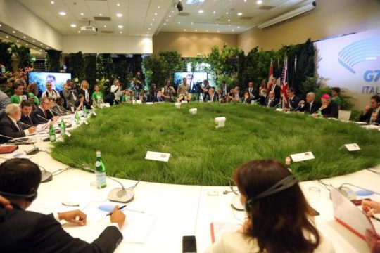 A picture of the rappresentatives gathered around a big grass table for the G7 Ministerial Meeting on Environment,  which opened today, Sunday, in Bologna, Italy, 11 June 2017. The meeting runs until tomorrow, 12 June. ANSA/ GIORGIO BENVENUTI